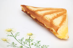 Custard cake sandwich. On dish Stock Image