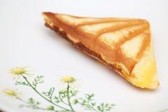 Custard cake sandwich. On dish Royalty Free Stock Photography