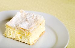 Custard cake square on a plate Royalty Free Stock Image