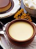 Custard with Caramel. Flan and Sugar. Creative cuisine with custard, caramel, flan and sugar Royalty Free Stock Image