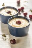 Custard with cherries Royalty Free Stock Photo