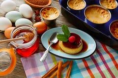 Custard Creme Caramel Flan dessert bain marie Royalty Free Stock Photos