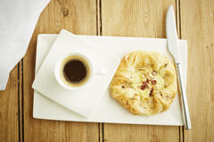 Custard crown pastry on white dish Stock Photography