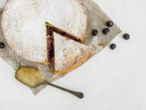 Custard czereśniowy kulebiak z cukieru proszkiem Zdjęcie Stock