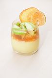 Custard dessert with fruit, jelly and citrus chips Royalty Free Stock Image