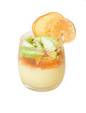 Custard dessert with fruit, jelly and citrus chips. Isolation on Royalty Free Stock Photography