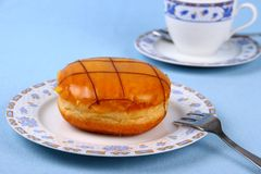 Custard Doughnut checkered with chocolate Stock Image
