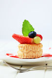 Custard filled vol-au-vent with fruit Royalty Free Stock Image