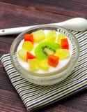 Custard milk fruit salad Stock Image