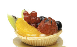 Custard pie with mixed fruits isolated Royalty Free Stock Images