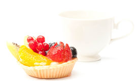 Custard pie with mixed fruits isolated Stock Photography