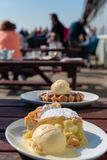 Custard pie vanilla ice cream belgian waffles royalty free stock images