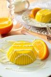 Custard pudding with vanilla sauce and orange Stock Photography
