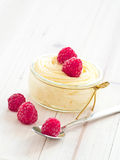 Custard with raspberries Stock Photos