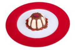 Custard with raspberry Royalty Free Stock Photography