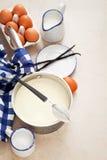 Custard in a saucepan. Selective focus royalty free stock photo