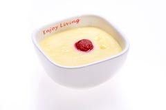 Custard with strawberries Stock Photo