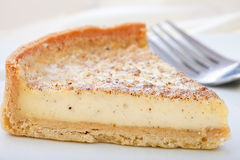 Custard tart slice on a plate. Close up of Custard tart slice  on a plate with fork Stock Images