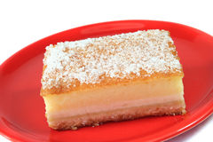 Custard-topped cheesecake-style speciality Royalty Free Stock Images