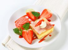 Custard (Vanilla) Slice with strawberries and ice cream Royalty Free Stock Image