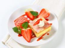 Custard (Vanilla) Slice with strawberries and ice cream Royalty Free Stock Image
