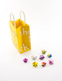 Custard Yellow Shopping Paper Bag with Hand Made Stars on White Stock Photography