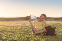 Custe smiling kid with flag of Australia Stock Images