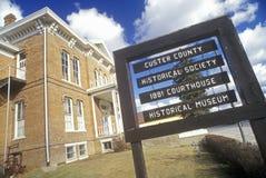 Custer County Historical Society met 1881 Hof Huis in Custer, BR Stock Foto's