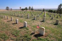 Custer National Cemetery al cittadino del campo di battaglia del Little Bighorn immagine stock libera da diritti
