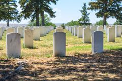 Custer National Cemetery bij het Nationale Monument van het Little Bighornslagveld, Montana, de V.S. stock foto