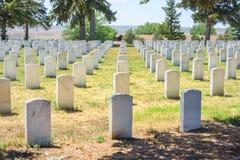 Custer National Cemetery en el monumento nacional del campo de batalla del Little Bighorn, Montana, los E.E.U.U. Imagen de archivo libre de regalías