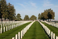 Custer National Cemetery. At the Little Big Horn Battlefield Monument in Montana.  Vertical rows of white grave markers of people that served their country Royalty Free Stock Images