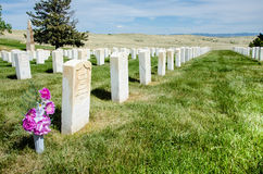 Custer National Cemetery. Is located on the Crow Indian Reservation, inside the Little Bighorn Battlefield National Monument in Montana Royalty Free Stock Photo