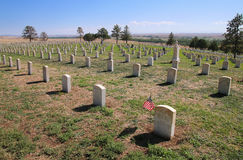 Custer National Cemetery no nacional do campo de batalha do Little Bighorn imagem de stock royalty free