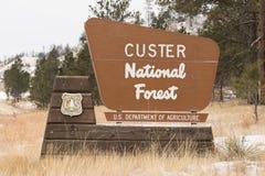 Custer National Forest USA Jordbruksavdelningentecken arkivbild