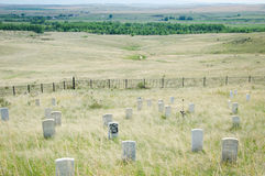 Custer's Last Stand. Headstones mark the locations that General George Armstrong Custer and some of his men fell and were buried when attacked by Lakota and Royalty Free Stock Images