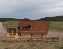 Custer State Park Entrance Sign royalty-vrije stock foto