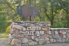 Custer State Park Sign arkivbild
