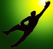 Custode del wicket della siluetta di sport della parte posteriore dell'oro verde Fotografia Stock