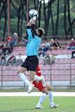 Custode di obiettivo di gioco del calcio di calcio Immagine Stock Libera da Diritti
