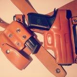 Custodia per armi della pistola della vecchia scuola fotografia stock