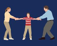 Custody Battle. Parents in a tug of war battle over their child Stock Photography