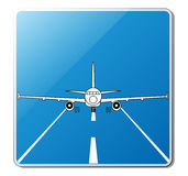 Custom airport sign. Illustration of the jet airplane on the runway, vector Royalty Free Stock Photo