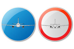 Custom airport signs. Red and blue, vector Stock Photo