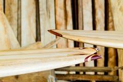 Custom Balsa Wood Surfboard Making Stock Photography