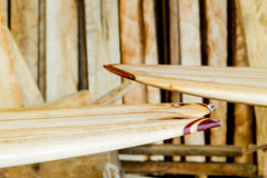 Custom Balsa Wood Surfboard Making stock photography
