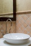 Custom bathroom sink and mirror stock images