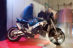 Custom Bike. With Special Light Effects in Exhibition stock photo