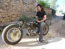 Custom bike and biker Stock Image
