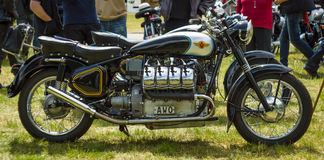 Custom bike with 8-cylinder engine (V8). PAAREN IM GLIEN, GERMANY - MAY 23, 2015: Custom bike with 8-cylinder engine (V8). The oldtimer show in MAFZ royalty free stock image